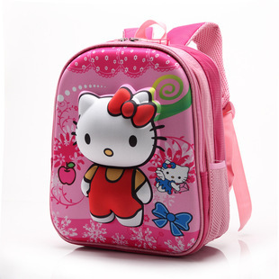 ba142319ff60 12inch Cute Cartoon School Bag 3d Mochila Infantil Kids Hello Kitty  Backpack Female Girls Mochilas Infantis Shoulder Bags