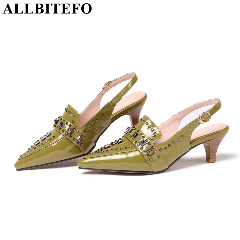 ALLBITEFO genuine leather med heel buckle shoes fashion women summer sandals girls shoes ankle strap round