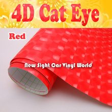 High Quality Red 4D Cat Eye Vinyl Film For Car Decals Bubble Free Size:1.52*30M/Roll