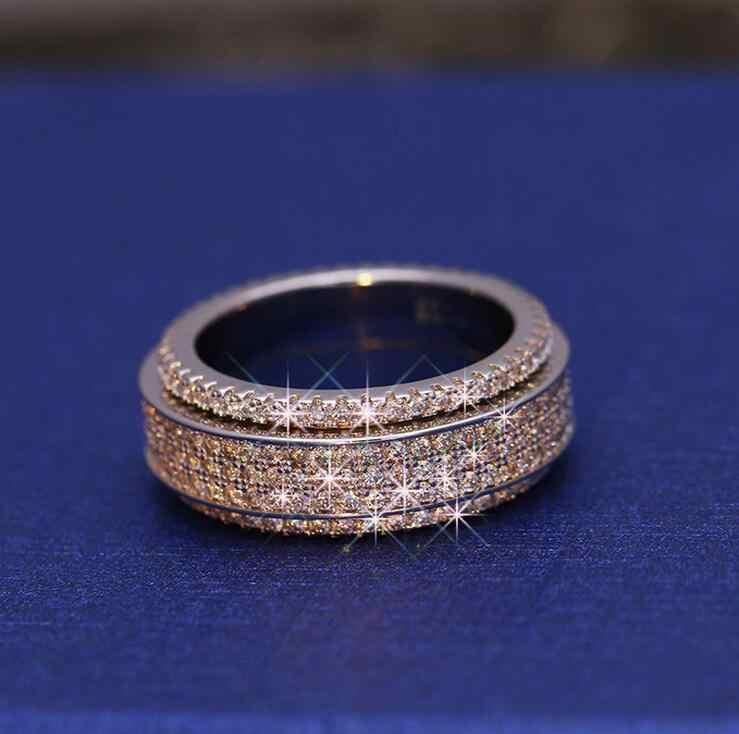 Thời Trang cổ điển Đồ Trang Sức Tuyệt Đẹp 925 Sterling Silver Đầy 5A Trắng CZ Zirconia Đảng Xoay Cưới Lady Nhạc Chuông Quà Tặng