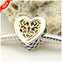 Fits for Pandora Charms Bracelets Locked Hearts Beads with 14K Real Gold 100% 925 Sterling Silver Jewelry Free Shipping