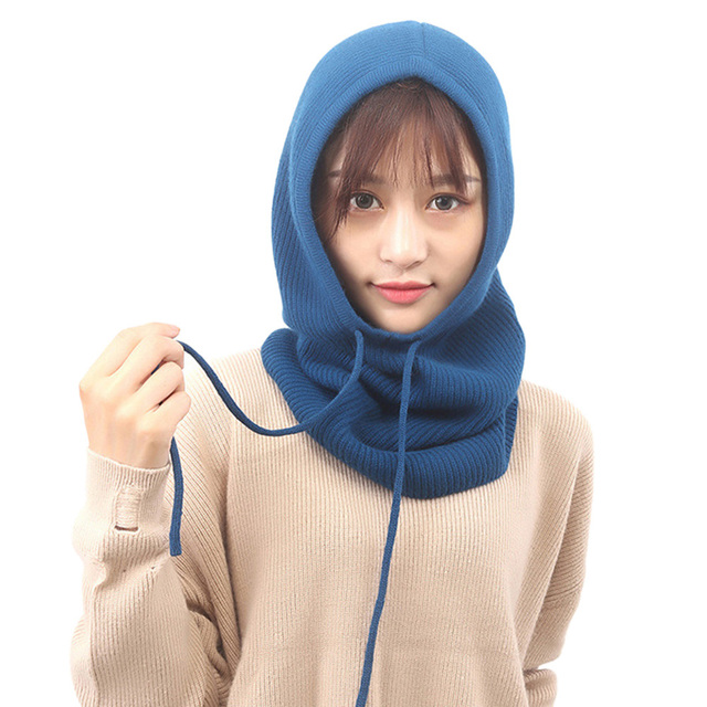 617309a2761 US $12.95 37% OFF 9 Colors Women Cashmere Knitted Hat Hooded Elastic Winter  Warm Neck Wrap Drawstring Caps Head and Ear Protection Scarf -in Women's ...