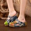 2017 Mulheres Verão Sapatos Sandálias Plataforma Plana Slides Genuína Artesanal de Couro de Flor Capa Dedos Comfotable Mulheres Slides