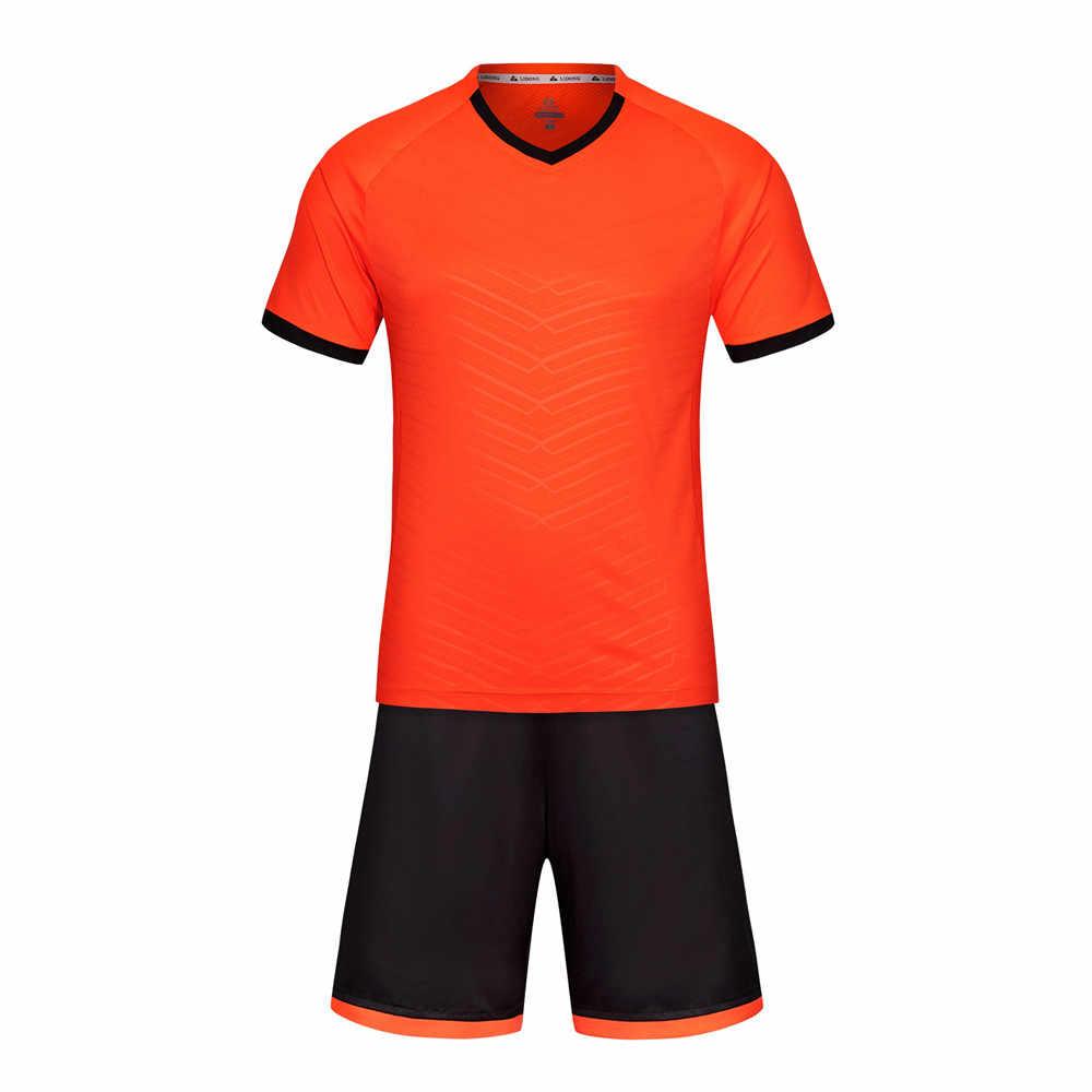 f60d6fe1c ... Men Women Kids Soccer Sets Jersey Uniforms Sport Kit Youth Boys  Football Jerseys Shirts Shorts Training ...