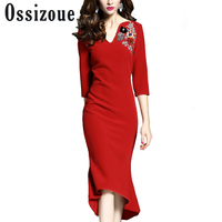 Sexy V Neck Women Autumn Elegant Dress Female Dimonds Vintage Long Dresses Retro Robe Work Party Irregular Vestidos Clothing 3XL