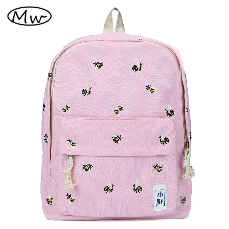 Japanese style embroidery animal printing backpack women canvas backpack school bags for teenager girls students bag
