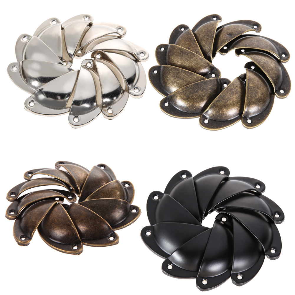 10 PCS Vintage Cabinet Knobs and Handles Cupboard Door Cabinet Drawer  Knobs Antique Shell Handle for Furniture 7pcs shell nautical door knobs ceramic handles cupboard cabinet drawer furniture cartoon cupboard cabinet handle pull children