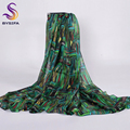 Ladies Green Long Silk Scarf Shawl 200*110cm 2016 New Winter Bamboo Female Scarves Wraps Extended Spring Autumn Muslim Headscarf