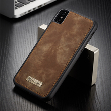 Original CaseMe Case For iPhone XS Magnetic Vintage Leather + Soft TPU Silicone Back Cover Case For iPhone X XS XS MAX XR Cases