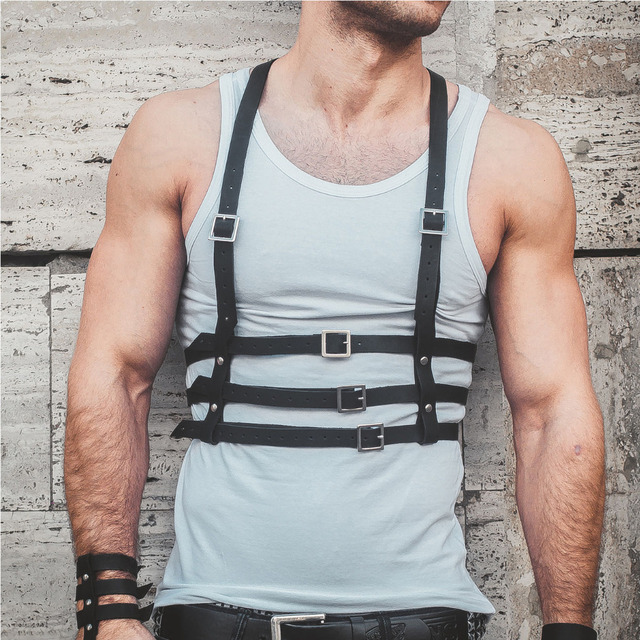 PU Leather Body Harness Cage Waist Belt Strap Adjustable Suspenders