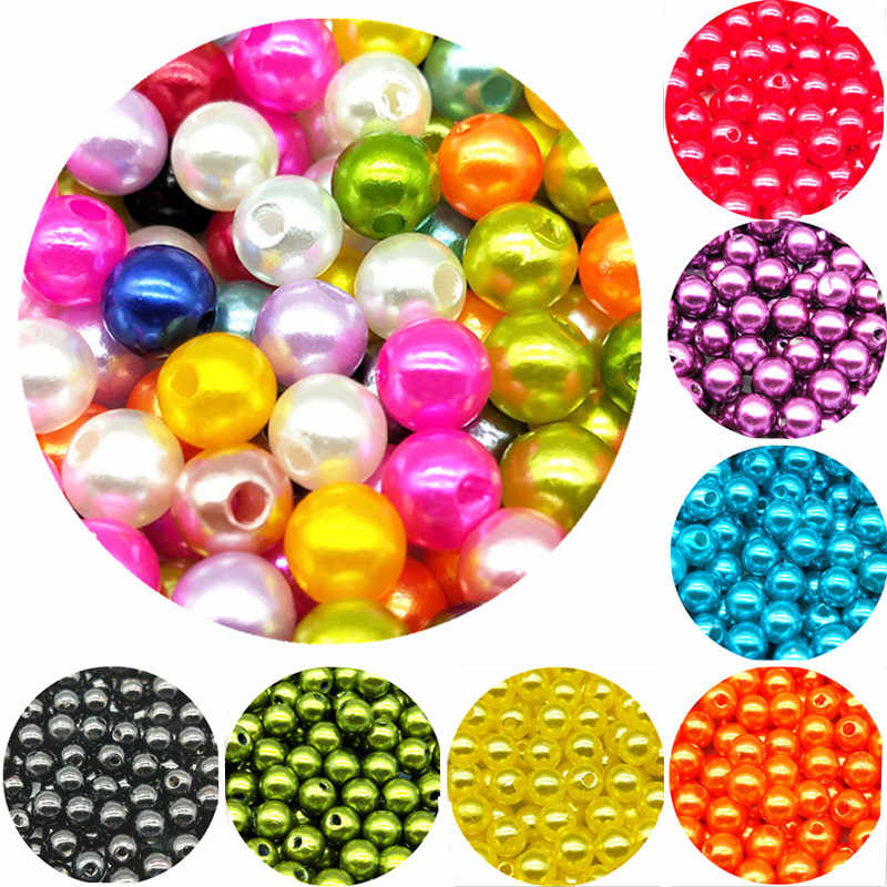 Round 4/6/8/10mm Mixed Color ABS Fashion Bright Candy Imitation Pearls Pears Spacer Loose DIY Jewelry Bracelets Necklaces Making
