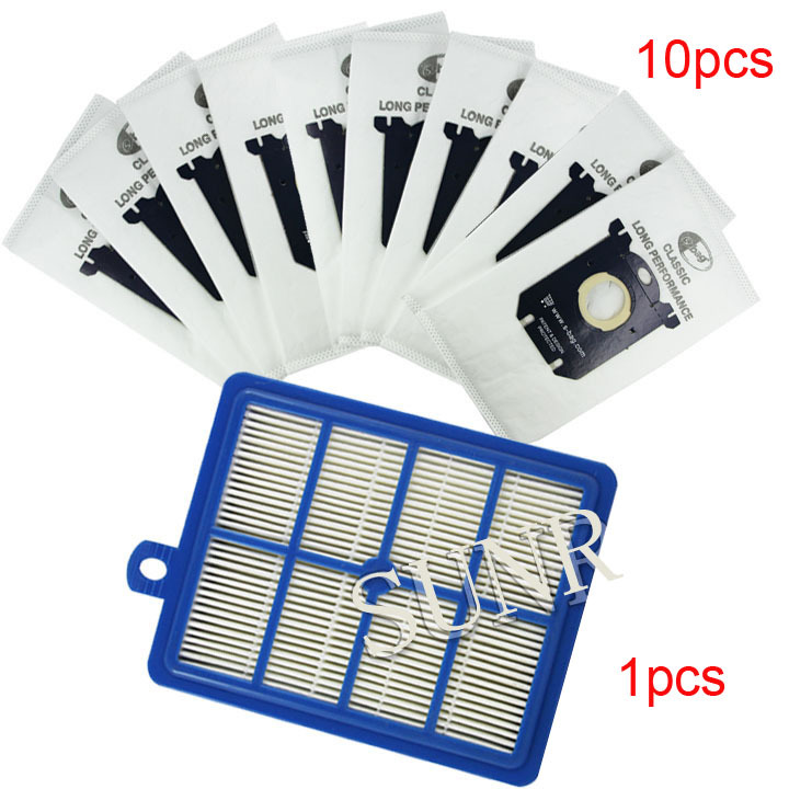 1pcs Replacement hepa filter h12 & 10 pcs Dust Bags for Electrolux  Vacuum Cleaner filter electrolux  hepa and S-BAG electrolux es 53 4 bags 1mf