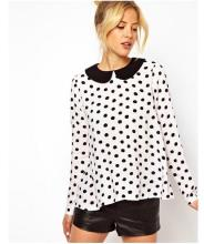 Black white polka dot blouse online shopping-the world largest ...
