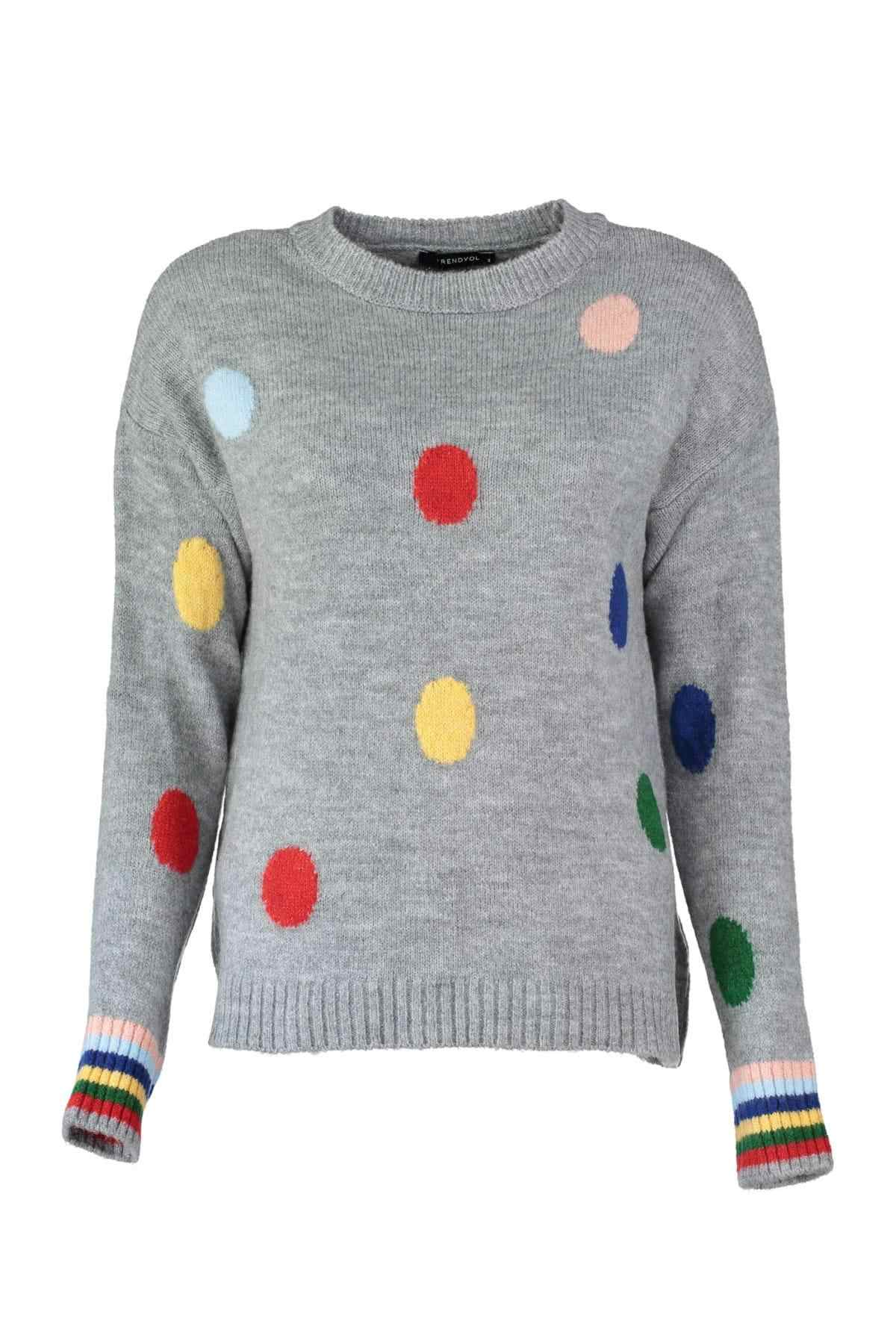 Trendyol WOMEN-Gray Polka Dot Sweater Sweater TWOAW20FV0039