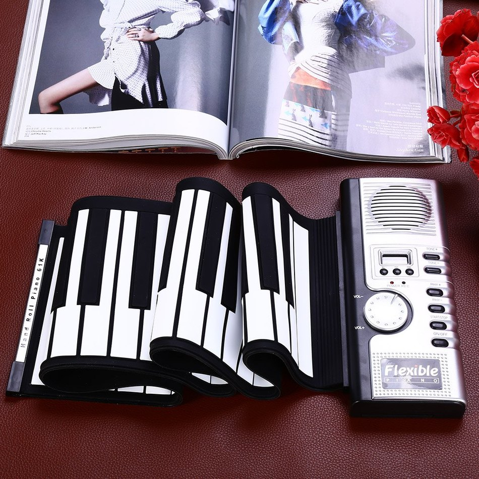 2016 Vendita Calda Portatile Flessibile 61 Tasti In Silicone MIDI Morbido Tastiera di Pianoforte Flessibile Rotola in su Pianoforte Elettronico Digitale