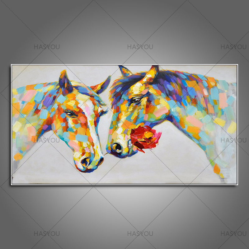 HASYOU Colorful wall decorations Rose horses Canvas Material Oil Painting hand paintedWall Art Pictures for Living