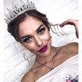 New Silver AB Crystal Bride Tiara For Weeding Rhinestone Crown Bridal Tiaras Head Jewelry Diadem Headbands Wedding Headdress