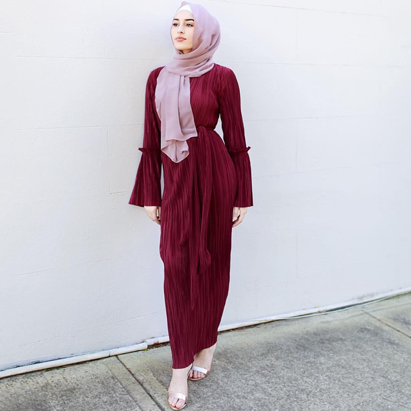 21911c7c78d Elegant Pleated Abaya Pencil Dress Flare Sleeve Party Long Robe Gowns Tunic  Middle East Ramadan Arab Worship Service Wholesale-in Dresses from Women's  ...