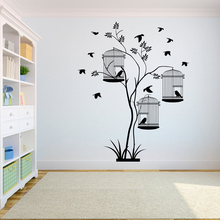 Tree Wall Decal Sticker Bedroom tree of life roots birds flying away home decor The Birdcage is in the tree. A7-017