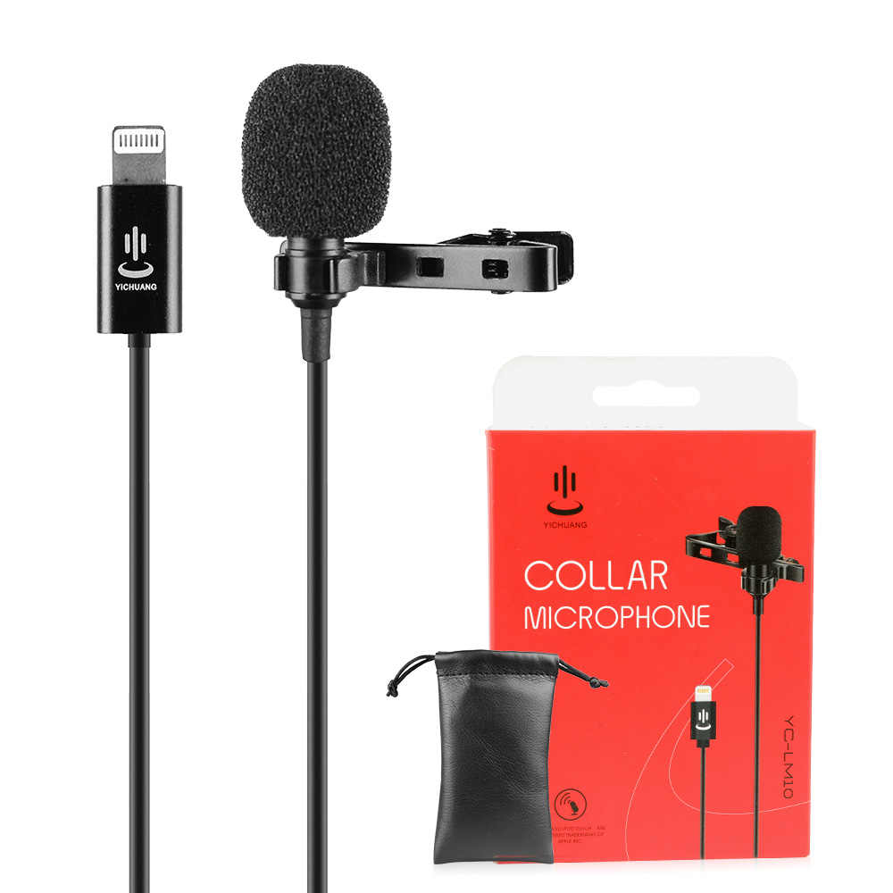 YC-LM10 1.5m Phone Audio Video Recording Lavalier Condenser Microphone for iPhone X xr xs max 8 8plus 7 7plus 6 6s 6plus 5/ iPad
