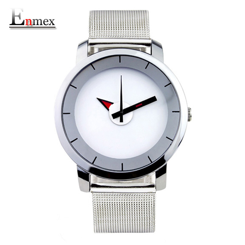 2017 gift Enmex creative style wristwatch mirror face simple design steel frabic strap with brief casual fashion quartz watch 2017lady gift enmex design silicone strap creative changing patterns dail japanese style simple quietly elegant quartz watches
