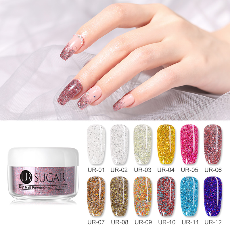 UR SUGAR 5ml Holographic Glitter Dipping Nail Powder Pigment Dust Dip Nail Powder Natural Dry Without Lamp Cure Decoration Nails in Nail Glitter from Beauty Health