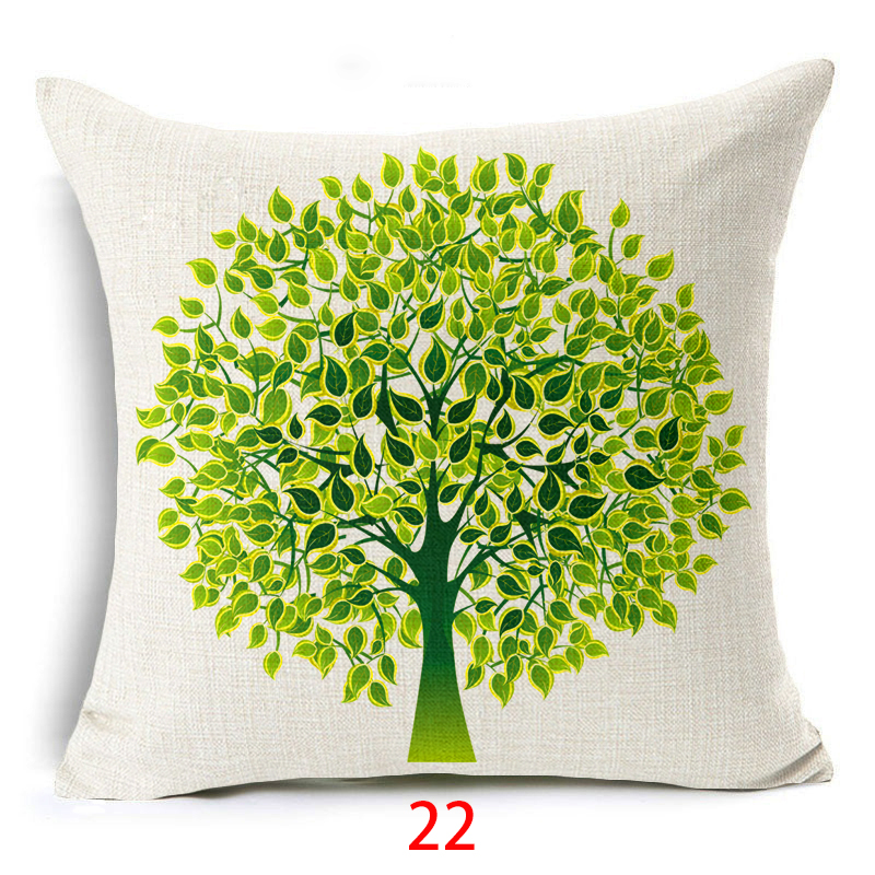 Home & Garden Fashion Oil Painting Style Cushion Cover 100% Flax Colorful Trees Flowers Simple Shape Pillows Cover Nordic Simple Brand Pillow