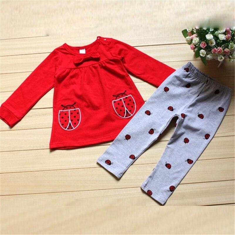 Bebés niños bebé niña ropa conjunto traje de manga larga Camisas +  escarabajo Pantalones dibujos animados ropa f70fb5a3db27