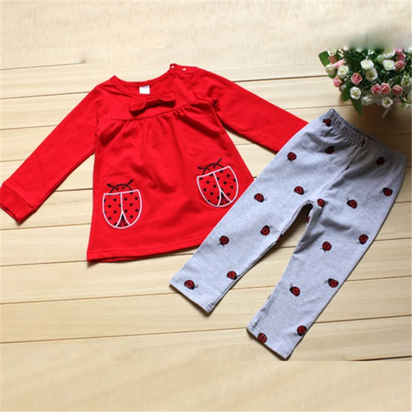 Infants Kids Baby Boy Girl Clothes Set Costume Long Sleeve Shirts+ Beetle Pants Cartoon Clothing Outfits