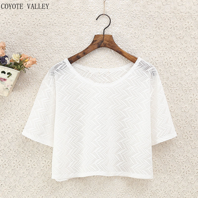 Tumblr Real 2017 Hot Style High Quality Yarn Net Short Sleeve T-shirt Ms Perspective Is Prevented Bask In Loose Big Yards Shirt
