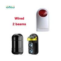 Dual Strahl Sensor Aktive Intrusion Detector Infrarot Radiation150m Outdoor Perimeter Wand Barriere Zaun mit lampe alarm-in Sensor & Detektor aus Sicherheit und Schutz bei
