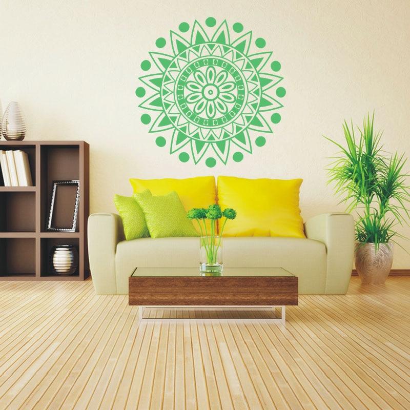 Yoga Namaste Lotus Flower Om Wall Sticker Mural Mandala Ornament ...
