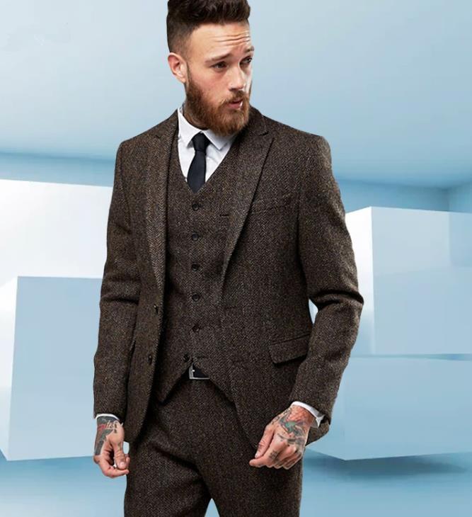 Picture As Tweed Pantalon 3 Gilet Moderne Color De D'affaires Brun Formelle veste Britannique Made Blazer Hommes Style Fit Slim Pcs Custom Laine Costume custom Rp1Aw5n