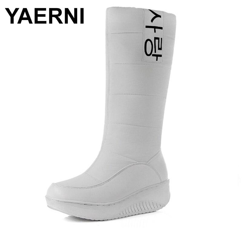 Dentro Mediados De Tacón Cuñas Piel Negro Botas Gruesa blanco Mujer Nieve Calzado E675 Ternero Mujeres Zapatos Las Invierno Yaerni Plataforma wnBq16R86