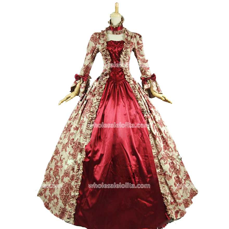 Best Seller Vintage Print Dress 18th Century Marie Antoinette Dress ...