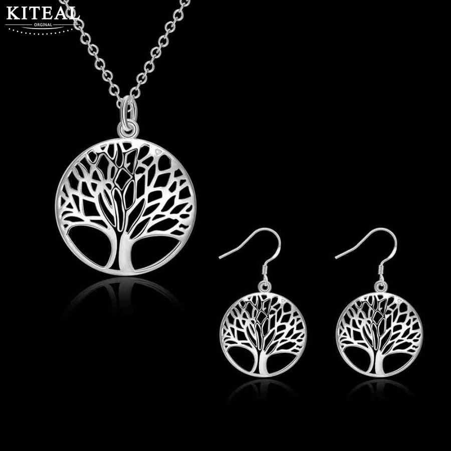 Kiteal Silber Mode schmuck sets Baum Des Lebens braut set geschenk für frauen Mesh Halsketten anhänger tropfen ohrring 925 stempel