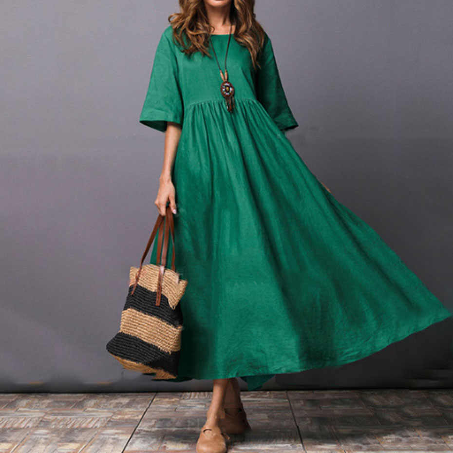 Young17 Vintage Green Dress Women T Shirt Dress 2019 Fashion Plue Size Long Dress Spring Summer Casual Female vestido verde