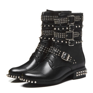 Image 2 - MORAZORA 2020 plus size 33 43 womens boots genuine leather round toe autumn winter Motorcycle boots black rivet ankle booties