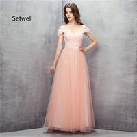 Setwell Cute Pink Prom Dresses 2017 Sexy V Neck Backless Prom Dress High Quality Long Lace Evening Gown Custom Made