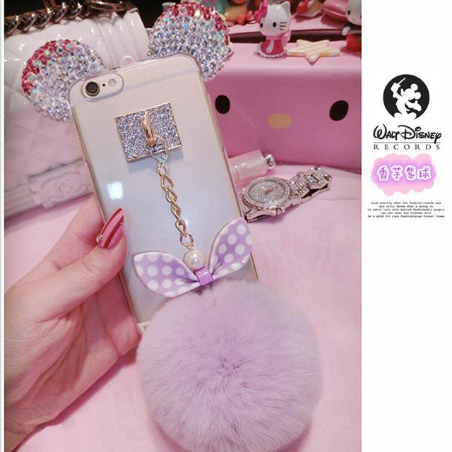 Crystal Mickey Ears Cases with Fur Ball For iPhone and Samsung