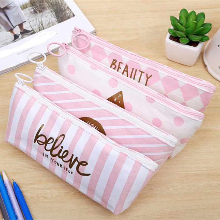 M173 Creative Women Purses Small Fresh Powder Mesh Bag Han Stationery Pencil Box Pencil Creative Dot Stripe Style Bag