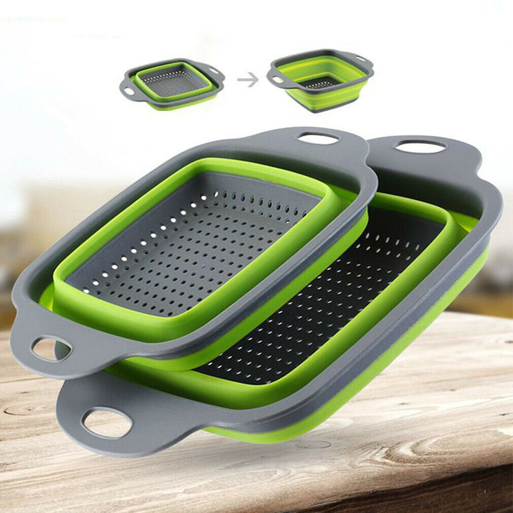 2pcs/set Foldable Silicone Colander Collapsible Washing Basket Draining Strainer Basket With Handle Kichen AccessoriesTools