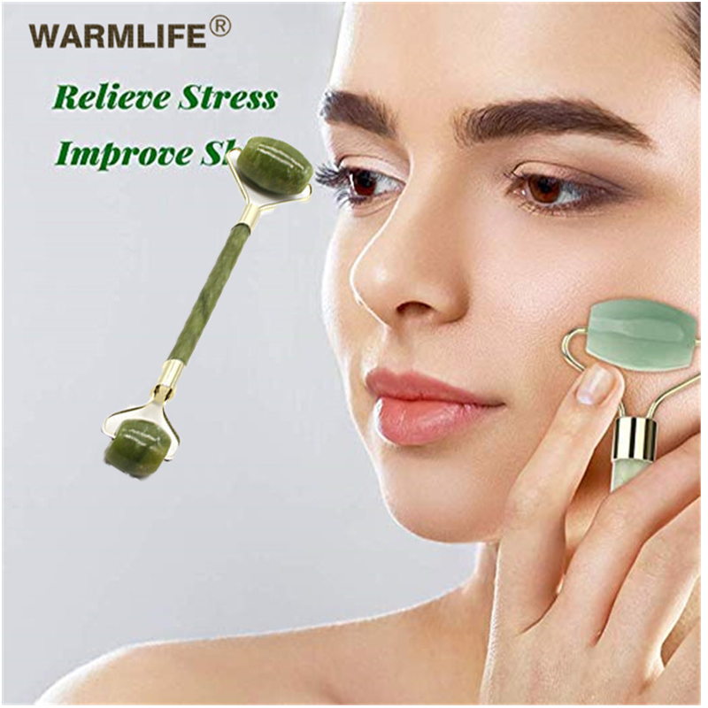 Double head green jade roller massage roller massager eye neck facial slimming face beauty health care tools selling