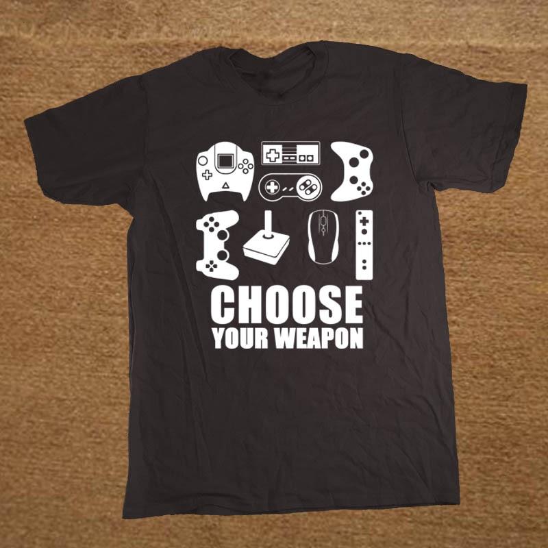 New Summer Men's   T  -  shirt   Choose Your Weapon Gamer   T     Shirt   Video Game Controller Tee Cotton Short Sleeve Tshirt