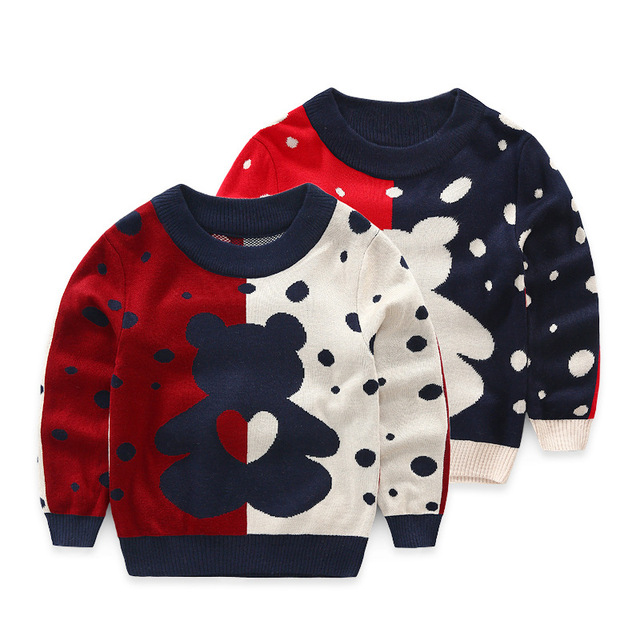 2016 kids cute sweater sweet character sweater for boys and girls bear pattern sweater for children clothing