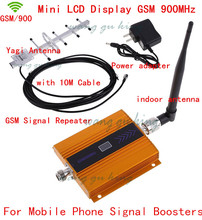 Full set LCD GSM 900MHz Cell Cell Cellphone Sign Booster Amplifier GSM Sign Repeater+ Yagi Antenna with 10M Cable US/EU Plug