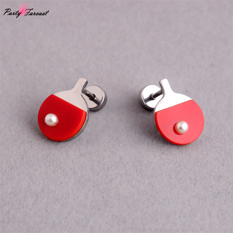 Fake Pearl Ping Pong Flat back Stud Earrings Stainless Steel Prevent Allergy Lip Tongue Nail for Women Men Jewelry Decoration