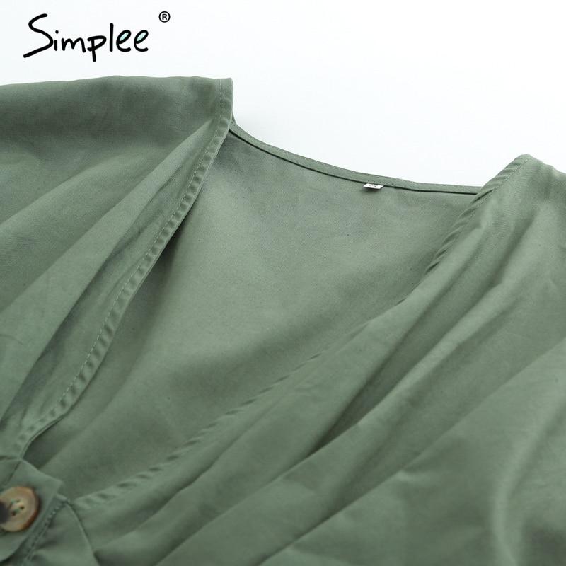 Simplee V neck high waist sexy romper women Drop shoulder button casual short jumpsuit 2018 Summer beach white playsuit female