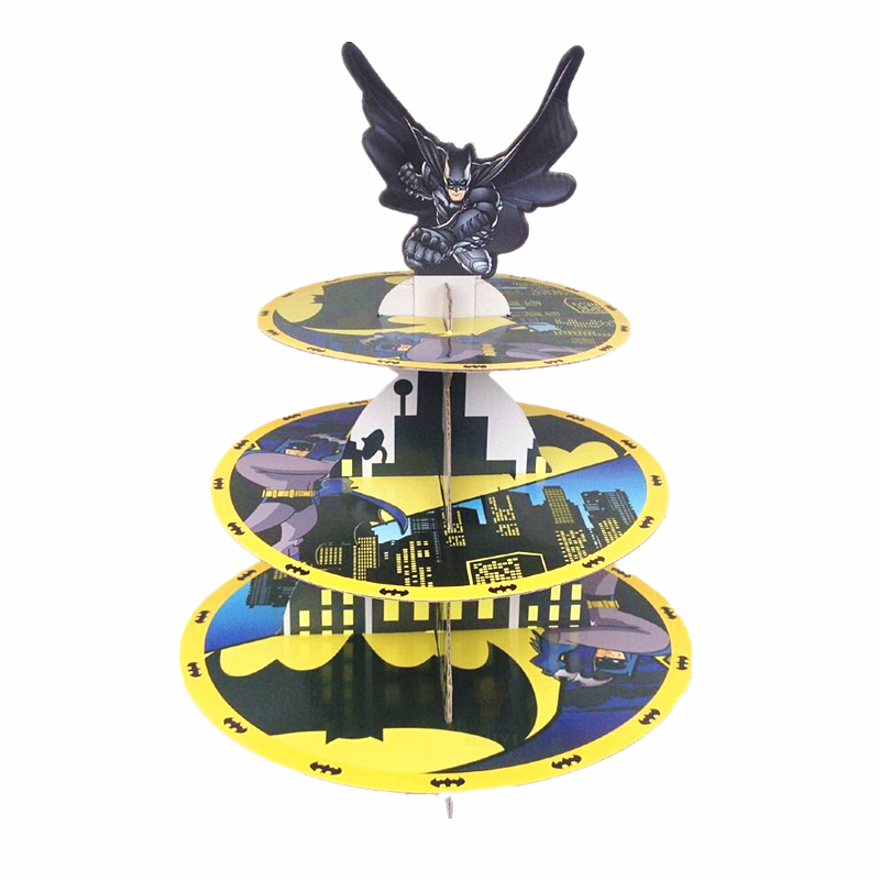 Free shipping batman decoration kids <font><b>birthday</b></font> party supplies three layers cupcake stand cake stand stands dessert tray favors