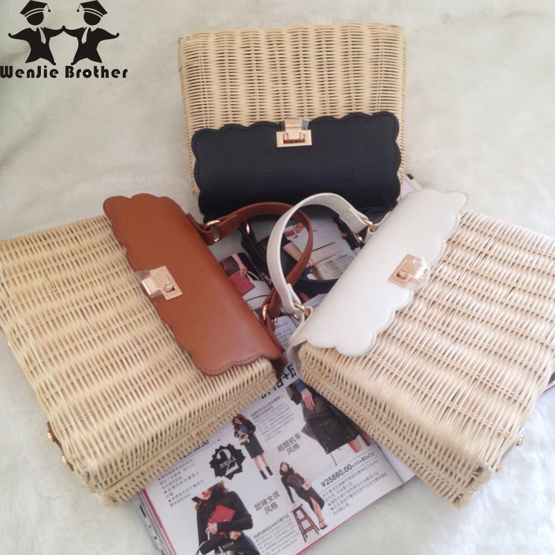 Wenjie frère nouveauté bonne qualité mode sac de paille rotin tissé à la main sac à main femme décontracté dame épaule sac de plage